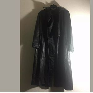 Kenneth Cole black 100% leather coat